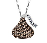 Sterling Silver Hershey s Kiss  Chocolate  CZ Pendant with Chain