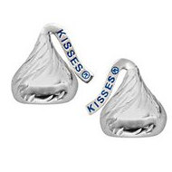 Sterling Silver Hershey s Kiss Flat Back w  CZ Stud Earrings
