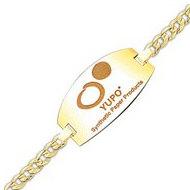 Round Square Bracelet Logo Jewelry w/ Curb Chain