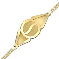 Round with Triangle Ends Bracelet Logo Jewelry w/ Curb Chain