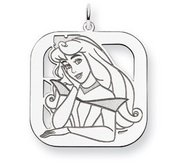 Sterling Silver Princess Aurora Square Charm