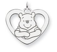 Sterling Silver Disney Winnie the Pooh Large Heart Charm