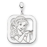Sterling Silver Snow White Lobster Clasp Square Charm