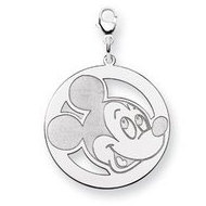 Sterling Silver Disney Mickey Mouse Lobster Clasp Round Charm