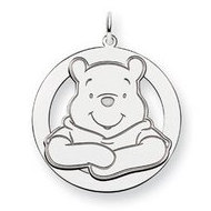 Sterling Silver Disney Winnie the Pooh Large Two Layer Round Charm