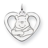 Sterling Silver Disney Winnie the Pooh Medium Heart Charm