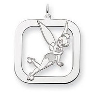 Sterling Silver Tinker Bell Two Layer Square Charm