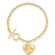 14K Yellow Gold Disney 7 5inch Mickey Mouse Heart Charm Bracelet