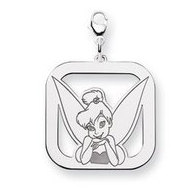 Sterling Silver Tinker Bell Lobster Clasp Square Charm