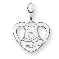 Sterling Silver Disney Winnie the Pooh Lobster Clasp Med  Heart Charm