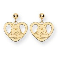 Disney Winnie the Pooh Heart Post Dangle Earrings