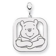 Sterling Silver Winnie the Pooh Large Lobster Clasp Square Charm