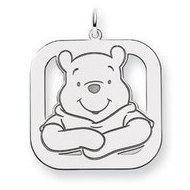Sterling Silver Winnie the Pooh Large Square Charm
