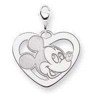 Sterling Silver Disney Mickey Mouse Heart Lobster Clasp Charm