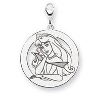Sterling Silver Princess Aurora Lobster Clasp Round Charm