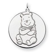 Sterling Silver Winnie the Pooh Large Two Layer Charm