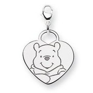 Sterling Silver Disney Winnie the Pooh Lobster Clasp Heart Charm