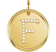 Letter  F  Posh Mommy Initial Roxy Pendant with Diamonds