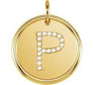 Letter  P  Posh Mommy Initial Roxy Pendant with Diamonds