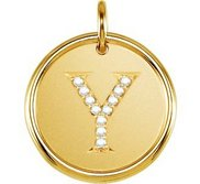 Letter  Y  Posh Mommy Initial Roxy Pendant with Diamonds