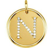 Letter  N  Posh Mommy Initial Roxy Pendant with Diamonds