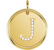 Letter  J  Posh Mommy Initial Roxy Pendant with Diamonds