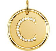 Letter  C  Posh Mommy Initial Roxy Pendant with Diamonds