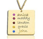 Posh Mommy     with Five Birthstones Square Pendant