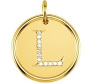 Letter  L  Posh Mommy Initial Roxy Pendant with Diamonds