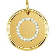 Letter  O  Posh Mommy Initial Roxy Pendant with Diamonds