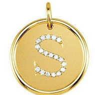 Letter  S  Posh Mommy Initial Roxy Pendant with Diamonds