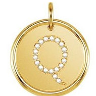 Letter  Q  Posh Mommy Initial Roxy Pendant with Diamonds
