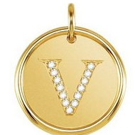 "Letter ""V"" Posh Mommy Initial Roxy Pendant with Diamonds"
