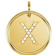 Letter  X  Posh Mommy Initial Roxy Pendant with Diamonds