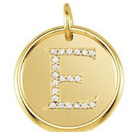 Letter  E  Posh Mommy Initial Roxy Pendant with Diamonds