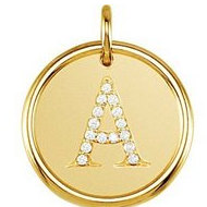 Letter  A  Posh Mommy Initial Roxy Pendant with Diamonds