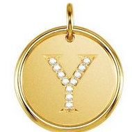 "Letter ""Y"" Posh Mommy Initial Roxy Pendant with Diamonds"