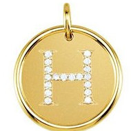 Letter  H  Posh Mommy Initial Roxy Pendant with Diamonds