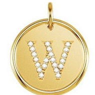 Letter  W  Posh Mommy Initial Roxy Pendant with Diamonds