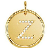 Letter  Z  Posh Mommy Initial Roxy Pendant with Diamonds