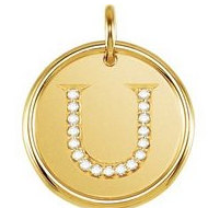 Letter  U  Posh Mommy Initial Roxy Pendant with Diamonds