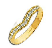 14k Yellow AA Diamond Wedding Band