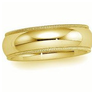 14k Yellow Gold 5mm Milgrain Wedding Band