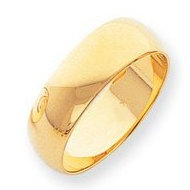 14k Yellow  Gold 7mm Comfort Fit Wedding Band