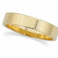 14k Yellow Gold 5mm Flat Wedding Band