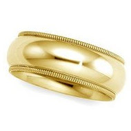14k Yellow Gold 6mm Milgrain Comfort Wedding Band