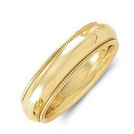 14k Yellow Gold 5mm Milgrain Comfort Wedding Band