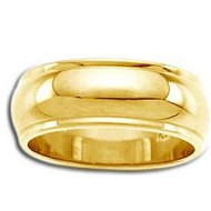 14k Yellow Gold 8mm Domed Series Wedding Band