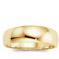 14k Yellow Gold 6mm Half Round Tapered Series Wedding Band