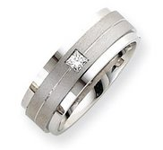 14k White Gold 8mm Fancy Diamond Wedding Band